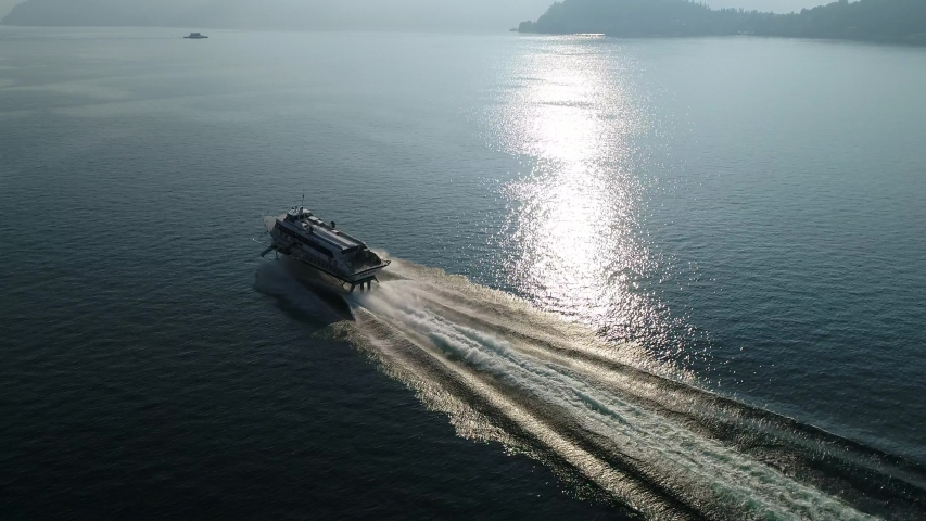 Hydrofoil on Como lake. Aerial view  | Shutterstock HD Video #1030093283