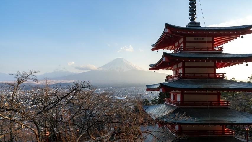 4K Time Lapse of Fuji Mountain view day to night, Arakurayama Sengen Park, Fujiyoshida, Japan. | Shutterstock HD Video #1030096163