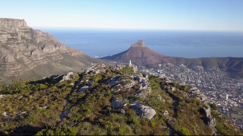 Aerial view from Table Mountain to Cape Town, South Africa | Shutterstock HD Video #1030112423