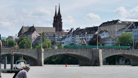 Bridge over river Rhein downtown Basel on sunny day. CH Switzerland. 22nd May 2019