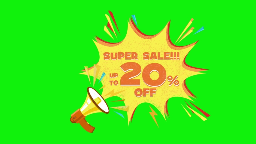 Super sale text up to 20% off megaphone flying 3d animation on green screen  | Shutterstock HD Video #1030133903