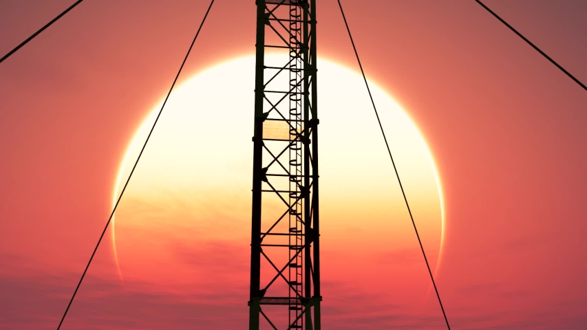 5G Telecommunication Tower Antennas Sunset Technology 3D Animation | Shutterstock HD Video #1030163453