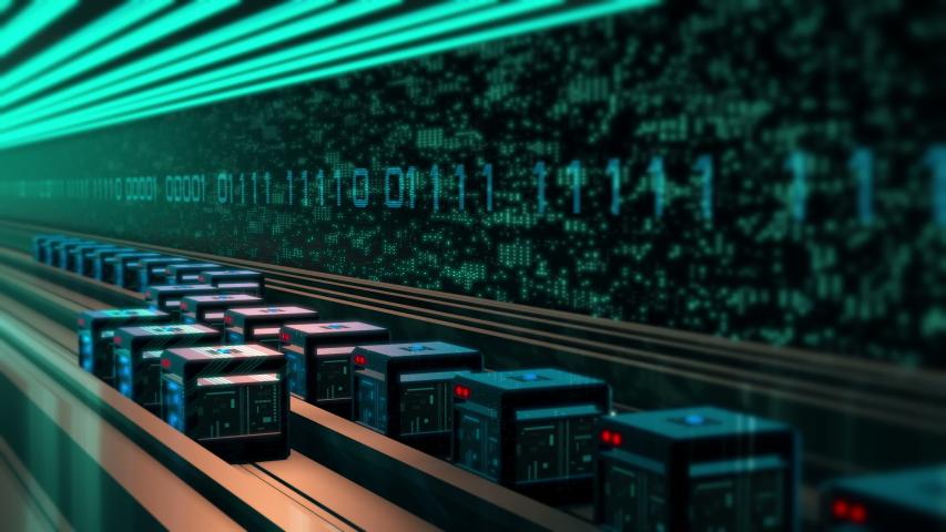 Digital binary data transfer. Transmit digital content visualization. 4K UHD video animation loop. | Shutterstock HD Video #1030182443