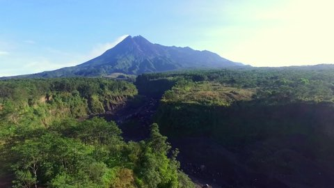 Aerial Merapi Mountain, beautiful landscape of mountain in the morning. Merapi Mountain Yogyakarta