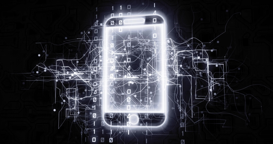 Cellphone 5G device in virtual cyberspace network with binary code, futuristic technological projection as 4k animation detail | Shutterstock HD Video #1030242383