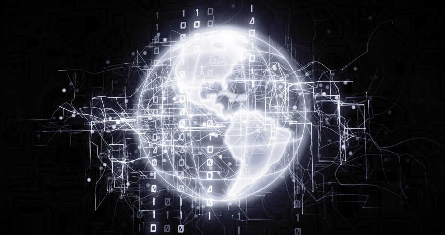 World globe in virtual cyberspace network with binary code, futuristic technological projection as 4k animation detail | Shutterstock HD Video #1030242413