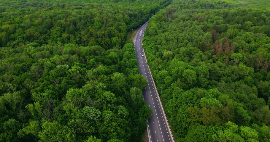Aerial view flying over road with car moving, that through lane green forest. Car driving along the forest road. AERIAL: Car driving through pine forest. Drone shot from above #1030548203