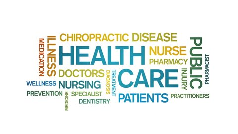 4k Health Care Animated Tag Word Cloud, Text Design Animation, Kinetic Typography.