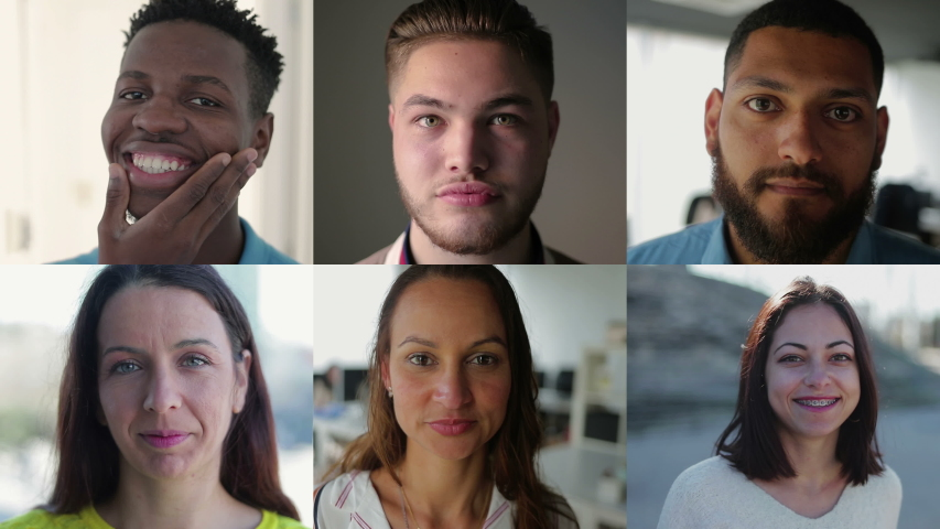 Collage of medium shots of young people of different races being inside and outside, looking at camera, smiling. Lifestyle concept | Shutterstock HD Video #1030597343