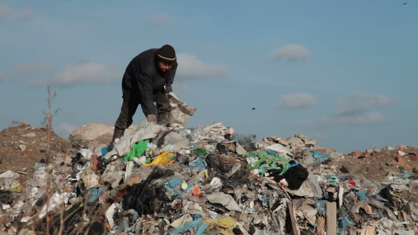 woman working in the landfill
