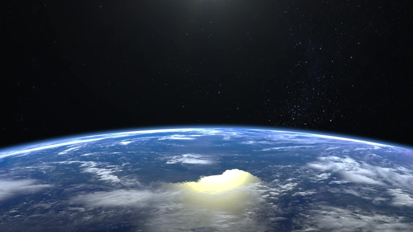 Earth from space. The camera flies away from the Earth. Stars twinkle. 4K. Realistic atmosphere. 3D Volumetric clouds. No sun in the frame.   Shutterstock HD Video #1030637153