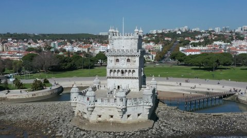 Aerial view of Belem Tower in Portuguese Torre de Belem or the Tower of Saint Vincent is fortified tower located in the civil parish of Santa Maria de Belem in the municipality of Lisbon Portugal 4k