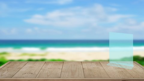 4K.UHD 3840x2160P- Wood Table Top Texture For Products Hear Present And Stand Display On Table. On The Beach Blur Sea Background In The Summer.