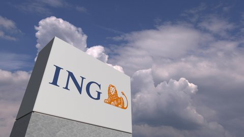 Logo of ING on a stand against cloudy sky, editorial animation. USA 2019