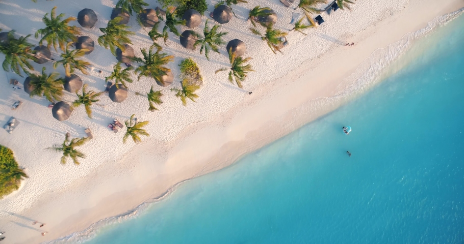 Aerial view of sea waves, umbrellas, green palms on the sandy beach at sunset. Summer in Zanzibar, Africa. Tropical landscape with palm trees, people, parasols, sand, blue water. Top view from air