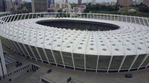 KIEV, UKRAINE - MAY 2019: Dynamo Kyiv Olympic Stadium. Panoramic aerial view.