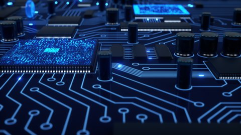 Bright blue electrons fly around a stylized circuit board as processors compute and communicate. Slow close-up dolly with shallow depth of field. 4K animation