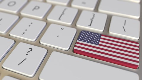 Key with flag of the USA on the keyboard switches to key with flag of China, translation, cooperation or relocation related animation