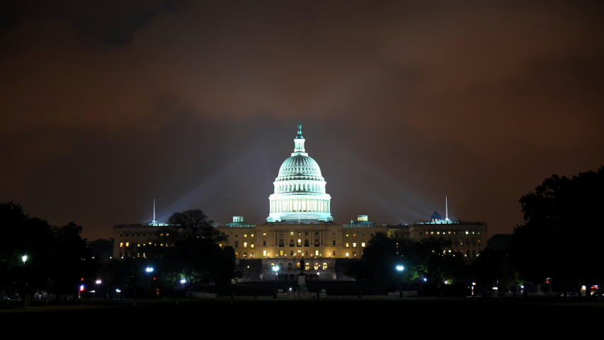 WASHINGTON DC, USA - MARCH 9, 2010 Time Lapse Washington D.C. US Capitol Building Cars Traffic Jam Rush Hour Night