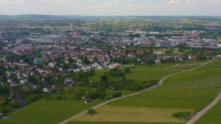 Aerial of the city Heilbronn in Germany, with round pan to the right.   Shutterstock HD Video #1031409473