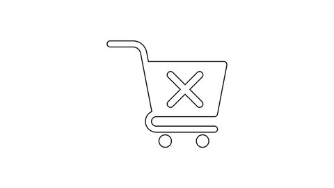 Black Remove shopping cart line icon on white background. Online buying concept. Delivery service sign. Supermarket basket and X mark. 4K Video motion graphic animation