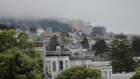 Slow thick fog over a tranquil San Francisco neighborhood on the hill is a great establishing shot.  Filmed on a Canon C200 in 4K resolution.