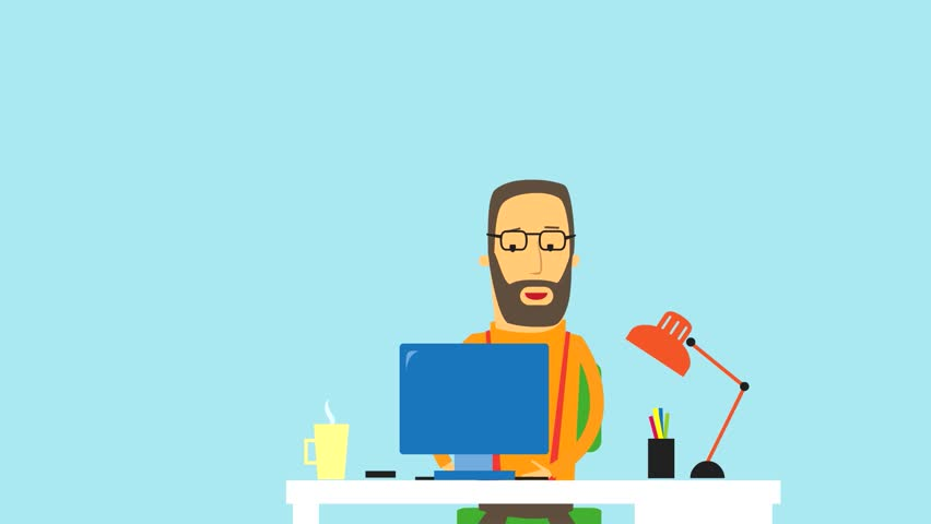 Flat Design Animation Of A Businessman Running On A