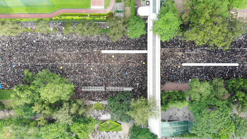 2 million protesters stand out to oppose a controversial extradition bill which may include china, June 16 2019 | Shutterstock HD Video #1031505893