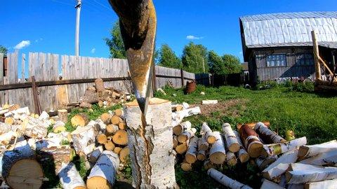 Chopping wood with an axe man vigorously cuts logs with an axe woodman
