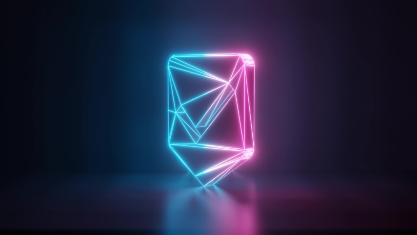 3d rendering glowing blue purple neon laser light with wireframe symbol of been here marker with ok sign in empty space corner seamless fade animation | Shutterstock HD Video #1031769533