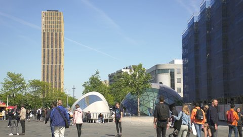 EINDHOVEN, NETHERLANDS - CIRCA 2019: 18 Septemberplein, large square and pedestrian zone in Eindhoven city center