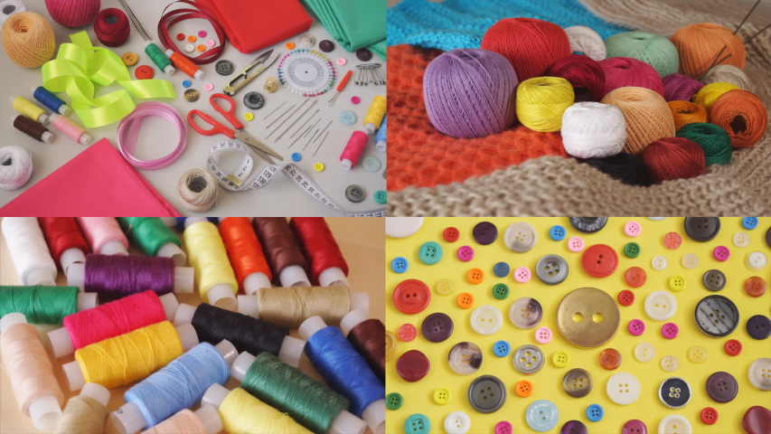 Accessories for needlework and sewing supplies | Shutterstock HD Video #1031824403