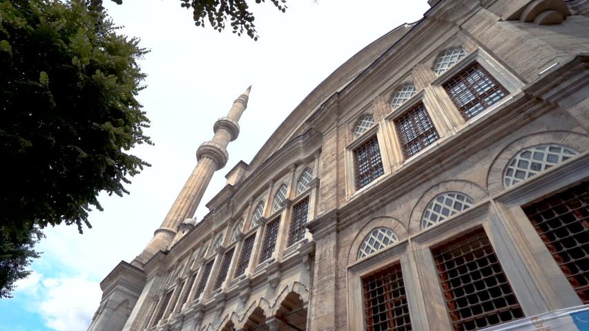 Nuruosmaniye mosque in beyazid ?stanbul.  historic ottoman architecture mosque bottom angle wide angle istanbul historic.   Shutterstock HD Video #1032059063