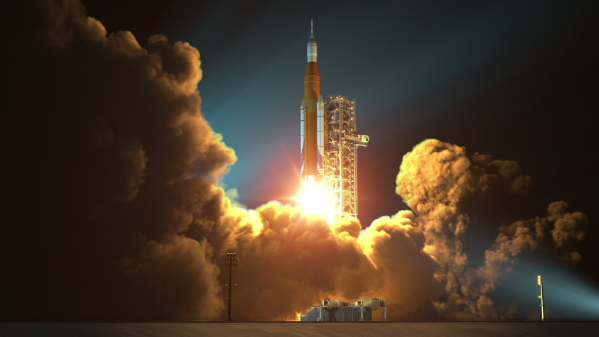 4K. Space Launch System Night Takes Off. 3D Animation. Ultra High Definition. 3840x2160. | Shutterstock HD Video #1032345983
