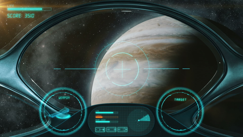 Space Shooter 3D Video Game imitation. The Spacecraft In Space Destroys The Enemy Crew With A Laser Gun. Planet Jupiter And Stars On The Background.
