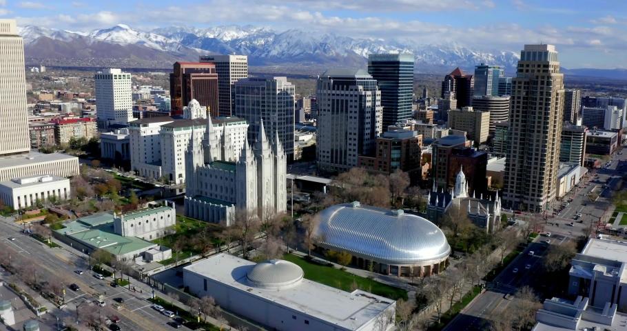 Salt Lake City, Utah / USA - April 15, 2019: Church Of Jesus Christ Of Latter-Day Saints Temple, Salt Lake City by Drone