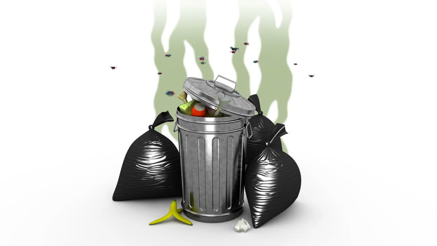 Smelly garbage bin and garbage bags. 3D animation. Alpha channel, loopable.