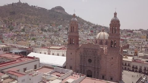 Zacatecas downtown cathedral in Mexico from Drone original shoot. Log color