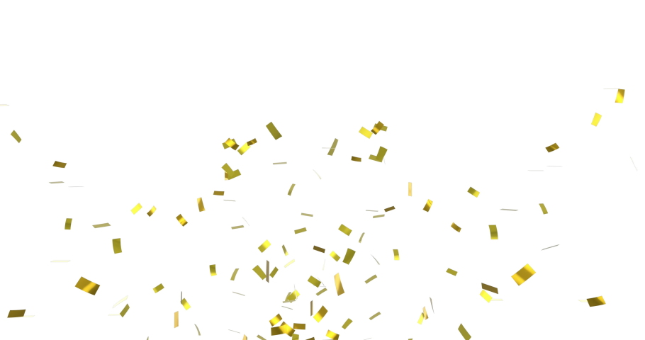 Digital animation of gold confetti falling against a white background | Shutterstock HD Video #1032825173