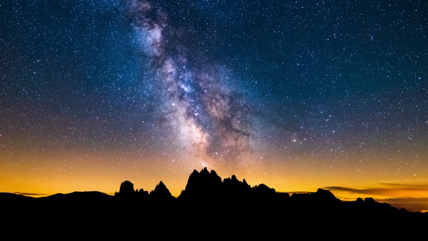 4K Panning Time lapse of Mliky way over the Alps Mountain, Dolomites, Italy | Shutterstock HD Video #1032882173