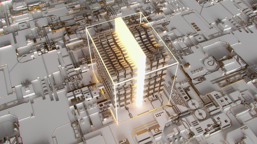 4K Abstract Futuristic Motherboard Circuit. Highly realistic CGI animation. | Shutterstock HD Video #1032963593