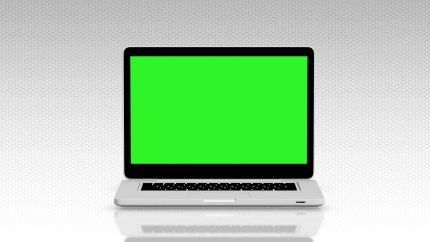 Modern laptop appearing from the side white background and green screen #1033000013