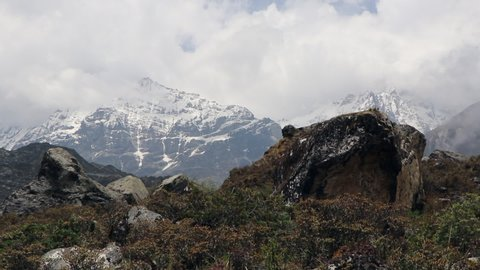 B-roll of windy grass blowing in the foreground and the ginormous Himalayan mountains towering over Langtang Valley, Nepal
