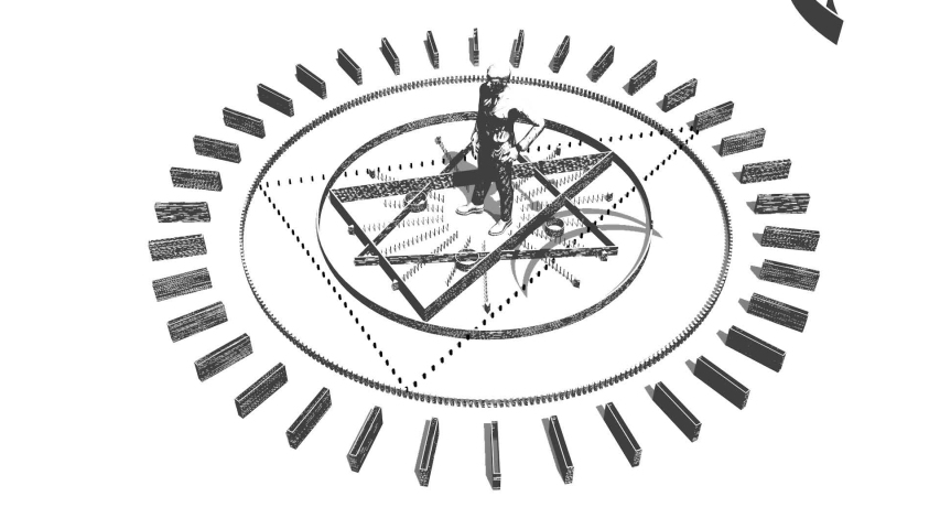 Animated mystery, witchcraft, occult and alchemy sign. Spin of the mystical vintage gothic geometry thin lines symbol around the businessman. 3D rendering | Shutterstock HD Video #1033060073