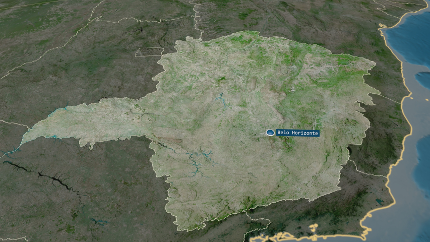 Minas Gerais - state of Brazil with its capital zoomed on the satellite map of the globe | Shutterstock HD Video #1033083443