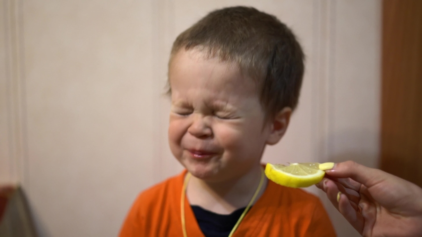 Little baby boy biting a lemon wedge,which holds a woman's hand. The child frowns, laughs and tries again to bite a lemon slice, close-up, portrait photography