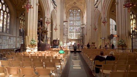 Bath, United Kingdom - May 14, 2019: Interior of Bath Abbey an Anglican church and former Benedictine monastery in Bath, Somerset, England .