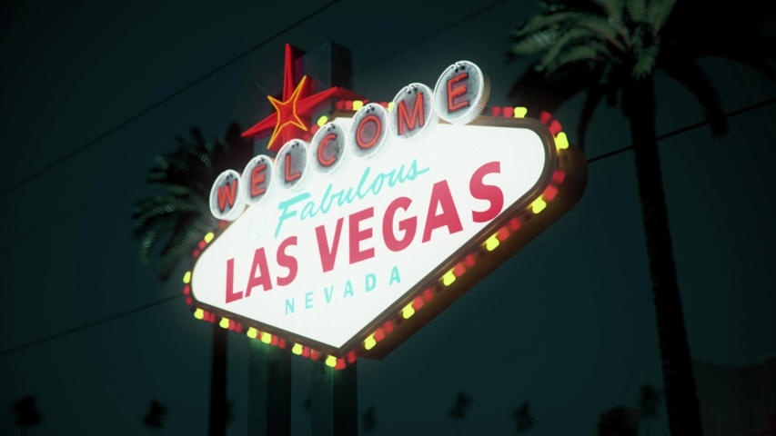 Las Vegas Sign At Night, Crash Pan, Right To Left | Shutterstock HD Video #1033162133