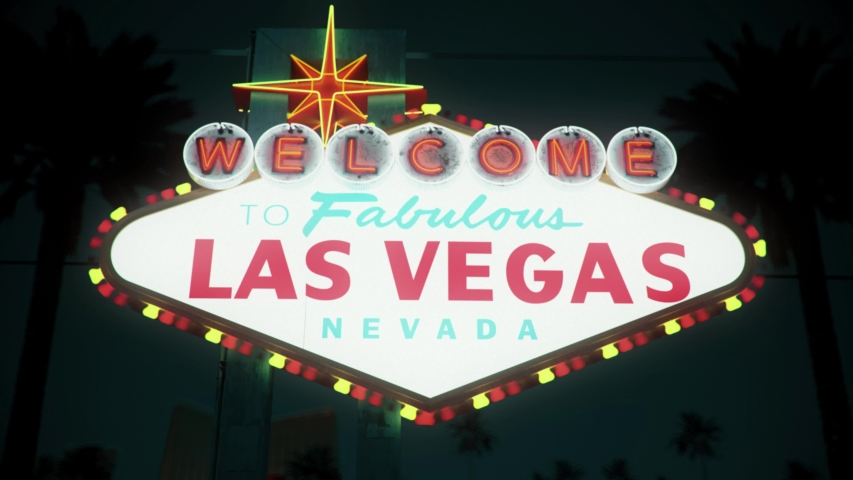 Las Vegas Sign At Night, Centered Rotating Crash Zoom | Shutterstock HD Video #1033162223