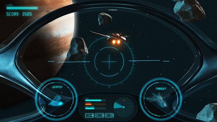 Space Shooter 3D Video Game imitation. The Spacecraft In Space Destroys The Enemy Crew With A Laser Gun. Planet Jupiter Asteroids And Stars On The Background.